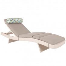 Guļamkrēsls STELLA ar spilveniem, 200x65,5xH33cm, alumīnijs ar plastmasas pinumiem, balts 1314 HOME4YOU
