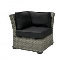 Moduļa dīvāns GENEVA ar spilveniem, stūris, 81x81xH78cm, alumīnija rāmis ar plastikāta pinumu, krāsa: tumši pelēks