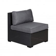 Moduļu dīvāns SEVILLA ar spilveniem, vidus daļa, 67x76,5xH74,5cm melns, 11671, HOME4YOU