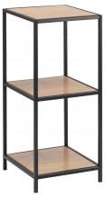 Riiul SEAFORD 35x37x82,5cm, riiul: mööbliplaat lamineeritud kattega, värvus: tamm, raam: must metall