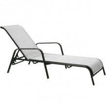 Guļamkrēsls DUBLIN 161x66,5xH48/100cm, tekstils, sudraboti/pelēks, tērauda rāmis, tumši brūns 11875 HOME4YOU