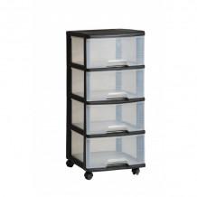 Sahtlisüsteem, 4-sahtlit 20L Drawer System 37x39x80,5cm must/läbipaistev 0806771146 CURVER