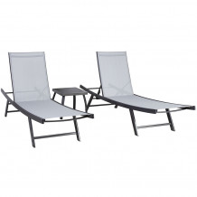 Dārza mēbeļu komplekts ARIO galdiņš un 2 sauļošanās krēsli, tērauda rāmis, pelēks 13234 HOME4YOU
