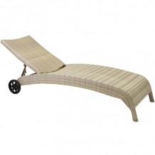 Guļamkrēsls WICKER 73x196x99cm, alumīnijs ar plastikāta pinumu, bešs 11759 HOME4YOU