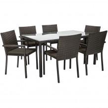 Dārza mēbeļu komplekts BASIC galds un 6.krēsli, galda virsma: 5mm stikls, tumši brūns 19349 HOME4YOU
