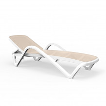 Sauļošanās krēsls 197X71.3XH46.5cm RESORT, bēšs/balts, 28575, HOME4YOU