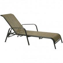 Guļamkrēsls DUBLIN 161x66,5xH48/100cm, tekstils, zeltīts/brūns, tērauda rāmis, tumši brūns 11876 HOME4YOU