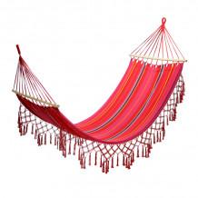 Võrkkiik ROMANCE 200x100cm, materjal: puuvill, värv: punane triibuline 12978 HOME4YOU