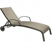 Guļamkrēsls MONTREAL-2, 73x196x99cm, tekstils, bēšs, alumīnija rāmis, brūns 11734 HOME4YOU