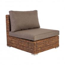Moduļu dīvāns CROCO ar spilveniem, vidus daļa, 77x93xH73cm, koka rāmis ar rotangpalmas pinumu, brūns