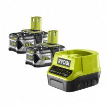 Akumulatori + lādētājs 18V 2x 5.0Ah RC18120-250 RYOBI