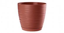 Puķu pods SAHARA ar paliktni 27cm, sarkans, 4352442, FORM PLASTIC