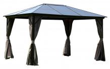Varikatus SUNSET 3x4xH2 / 2,7m, pruun alumiiniumraam, metallkatus, külgseinad beež ja nailonvõrk