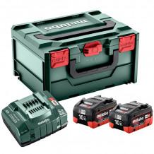 Akumulatoru komplekts ar lādētāju un koferi 2 x 10Ah LiHD + ASC 145+ MetaBOX215 685142000&MET Metabo