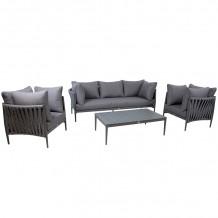 Dārza mēbeļu komplekts BREMEN galds, dīvāns un 2 krēsli, pel