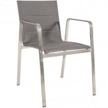Dārza krēsls BEVERLY 54,5x66xH82cm tekstilēns, pelēks, nerūsējošais tērauds 21194 HOME4YOU